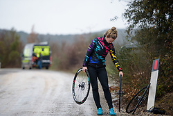 Beth Duryea admires her new wheels at Strade Bianche - Elite Women 2018 - a 136 km road race on March 3, 2018, starting and finishing in Siena, Italy. (Photo by Sean Robinson/Velofocus.com)