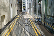 New architecture in an old lane in Whitechapel, on 29th July 2020, in East London, England.