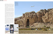 Marie Claire Reportage feature story - Pilot, Danielle Aitchison, and her partner Captain Chris Hood, perform a low level flyover of the Bamiyan Buddhas to promote International Peace Day.  Afghan President Hamid Karzai called for a ceasefire for the day, which was supported by NATO and The United Nations.