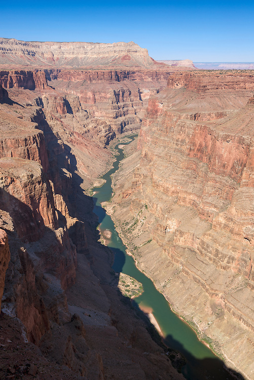 View of the Colorado River gorge from Toroweap Overlook in Grand Canyon National Park, Arizona.