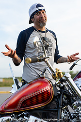 Xavier Muriel at a stop on a ride to Cape Canaveral during Daytona Beach Bike Week, FL. USA. Monday, March 11, 2019. Photography ©2019 Michael Lichter.