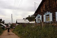 Gatene i Listvyanka, tradisjonell arkitektur, streets of Siberia, traditional architecture