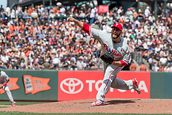 June 3, 2018 - San Francisco, CA, U.S. - SAN FRANCISCO, CA - JUNE 03: Philadelphia Phillies Pitcher Tommy Hunter (40) pitches in relief during the MLB game between the Philadelphia Phillies and San Francisco Giants on June 3, 2018, at AT&T Park in San Francisco, CA. (Photo by Bob Kupbens/Icon Sportswire) (Credit Image: © Bob Kupbens/Icon SMI via ZUMA Press)