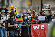 Protesters gathered outside the Chinese Embassy, central London on Wednesday, March 31, 2021, to demonstrate against the Chinese support on February 1 Military Coup D'etait in Myanmar which ousted Aung San Suu Kyi's elected government. (Photo/ Vudi Xhymshiti)
