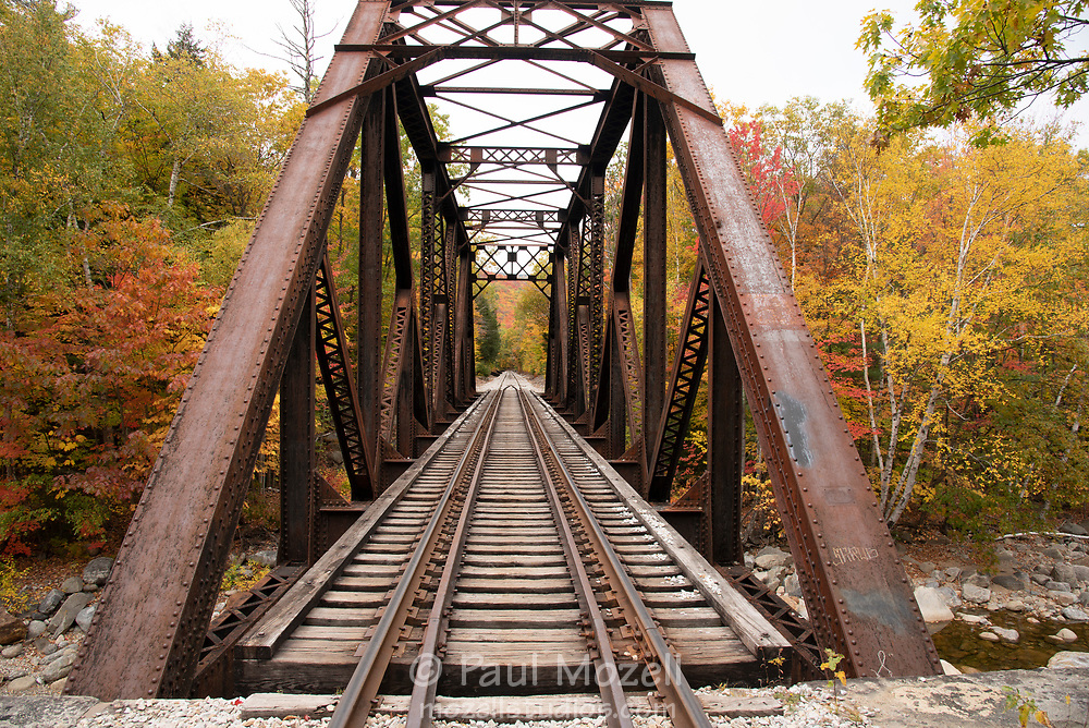 The 'Forth Iron Bridge carries the Conway scenic Railway through Crawford Notch New Hampshire