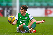 Joe Newell (#11) of Hibernian FC appeals to the referee after being fouled during the SPFL Premiership match between Hibernian and St Johnstone at Easter Road Stadium, Edinburgh, Scotland on 1 May 2021.