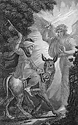 Balaam's Ass: Balaam, Old Testament prophet and diviner, ordered by Balak, King of the Moabites, to curse the Israelites. Chided by his ass for entertaining such an evil idea, he blessed the Israelites. Illustration by William Marshall Craig (c1765-c1834)