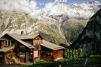 A log home with a view of the Jungfrau mountains, Gimmelwald, Switzerland