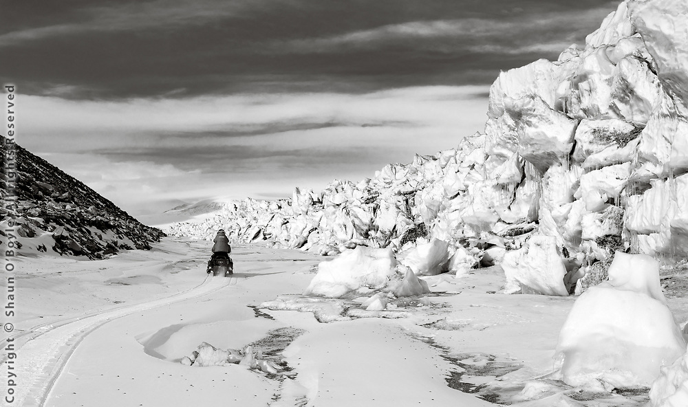The moat allowed us to ride snow mobiles all the way from Explorers Cove and get fairly close to the Ferrar Glacier.