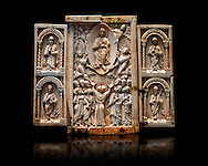 Medieval ivory Triptych relief panel depicting the Ascension, end of 11th cent. AD. Inv OA 6340, The Louvre Museum, Paris. .<br /> <br /> If you prefer you can also buy from our ALAMY PHOTO LIBRARY  Collection visit : https://www.alamy.com/portfolio/paul-williams-funkystock/romanesque-art-antiquities.html . Type-         Ivory      - into the LOWER SEARCH WITHIN GALLERY box. Refine search by adding background colour, place, museum etc<br /> <br />  Visit our MEDIEVAL PHOTO COLLECTIONS for more   photos  to download or buy as prints https://funkystock.photoshelter.com/gallery-collection/Medieval-Romanesque-Art-Antiquities-Historic-Sites-Pictures-Images-of/C0000uYGQT94tY_Y