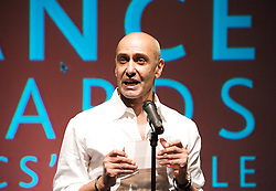 28th December 2018 <br /> <br /> Dance producer Farooq Chaudhry given OBE in the Queen's New Year's Honours 2019. <br /> <br /> <br /> Farooq Chaudhry speaking at the <br /> Critic's Circle National Dance Awards <br /> at The Place, London, Great Britain <br /> 2015 <br /> <br /> Farooq Chaudhry resigned as Chairman of Dance UK 10th April 2015 on the first day of the Dance UK Dance Conference <br /> <br /> Born in Pakistan, Farooq Chaudhry enjoyed an international professional dance career in the eighties and nineties. He was awarded an Asian Achievement Award for his work as a dancer in 1988.<br /> <br /> After retiring from dancing in 1999 he completed an MA in Arts Management from City University. A year later he teamed up with Akram Khan and co-founded Akram Khan Company. As the company producer, Chaudhry puts creativity at the heart of his leadership style, forming innovative business models to support Khan's artistic ambitions. Their partnership has made the company one of the world's most foremost and successful dance companies. <br /> <br /> In addition to his work for Akram Khan Company he became the Producer for English National Ballet in October 2013.<br /> <br /> Chaudhry was the Chair of Dance UK's Board, a member of the Strategic Advisory Committee for Clore Leadership Programme and a witness of the School for Social Entrepreneurs. The French Ministry of Foreign Affairs acknowledged him in a list of the world's top hundred cultural actors and entrepreneurs. Chaudhry is a regular guest speaker in cultural entrepreneurship including the Advanced Cultural Leadership Programme at Hong Kong University and the London Business School. <br /> <br /> He was awarded an honorary doctorate from De Montfort University for his services to dance in 2014. <br /> <br /> <br /> <br /> Photograph by Elliott Franks <br /> Image licensed to Elliott Franks Photography Services