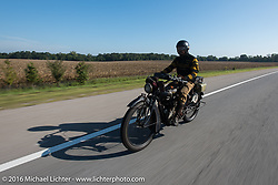 Yoshimasa Nimmi riding the team 80 1915 Indian Twin that he co-rides with Shinya Kimura during Stage 5 of the Motorcycle Cannonball Cross-Country Endurance Run, which on this day ran from Clarksville, TN to Cape Girardeau, MO., USA. Tuesday, September 9, 2014.  Photography ©2014 Michael Lichter.