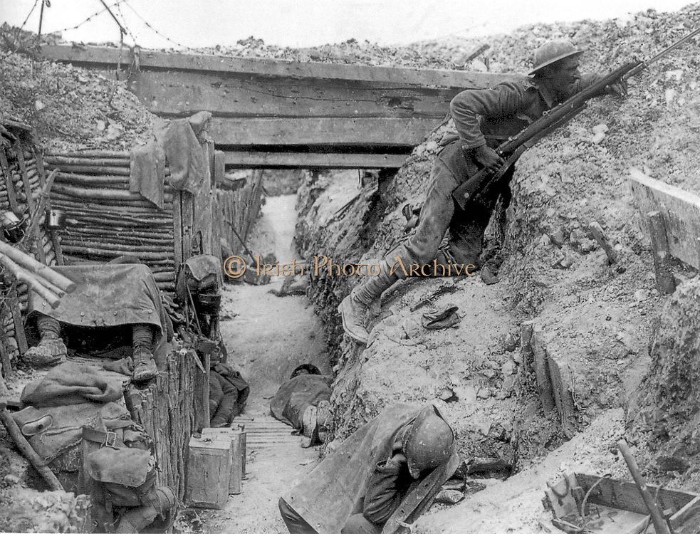 Cheshire Regiment in a trench at the Battle of the Somme 1916
