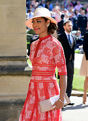 Gina Torres arrives at St George's Chapel at Windsor Castle for the wedding of Meghan Markle and Prince Harry.