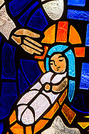 Stained glass depicting the both of Jesus Christ, seen on Saturday, April 17, 2021, at Iglesia Luterana Cristo El Salvador, Del Rio, Texas. LCMS Communications/Erik M. Lunsford