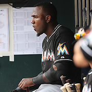 Marcell Ozuna, Miami Marlins, during the New York Mets V Miami Marlins, Major League Baseball game which went for 20 innings and lasted 6 hours and 25 minutes. The Marlins won the match 2-1. Citi Field, Queens, New York. 8th June 2013. Photo Tim Clayton