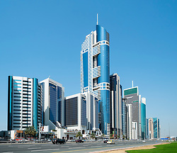 Modern skyscrapers along Sheikh Zayed Road in Dubai United Arab Emirates