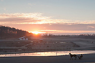 Town of Wallkill, New York - Harness racing horses work out on a cold morning at the Mark Ford Training Center on Dec.27, 2014.