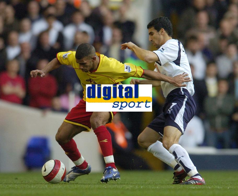 Photo: Olly Greenwood.<br />Tottenham Hotspur v Watford. The Barclays Premiership. 17/03/2007. Tottenham's Paul Stalteri and Watford's Adrian Mariappa