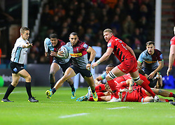 Harlequins' Joe Merchant breaks forward during the Gallagher Premiership match at Twickenham Stoop, London.