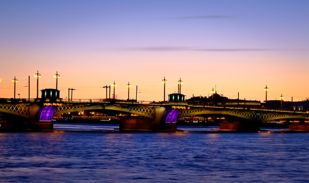 View of one of the many bridges over the Neva River in Saint Petersburg, Russia.