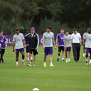 Kaka and his teammates leave the pitch after the first day of MLS soccer team practice for the Orlando City Soccer Club at Sylvan Lake Park on Friday, January 23, 2015 in Sanford,Florida. (AP Photo/Alex Menendez)