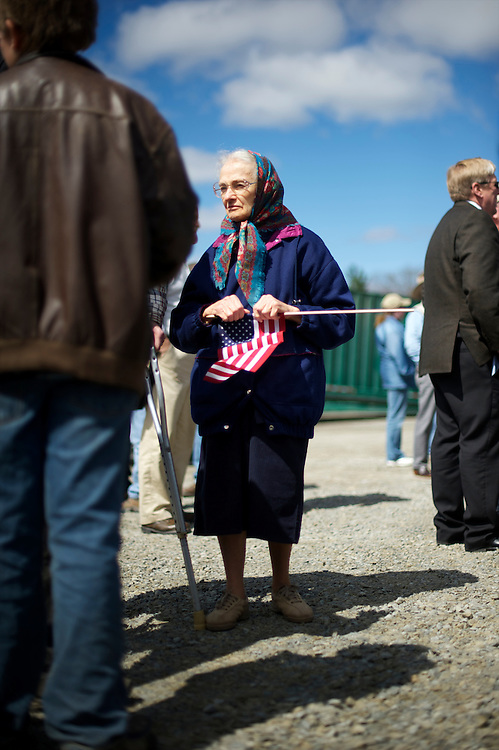 Joan Sickler, 79, from Nicholson, Pennsylvania, attends a rally for Republican Presidential candidate Mitt Romney at Mountain Energy Services in Tunkhannock, Pennsylvania on April 5, 2012.