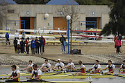 Seville. SPAIN, 17.02.2007, GBR M4- bow Andy TWIGGS-HODGE, Peter REED, Matt LANDGRIDGE and Steve WILLIAMS, compete in Saturdays finals of the FISA Team Cup, held on the River Guadalquiver course. [Photo Peter Spurrier/Intersport Images]    [Mandatory Credit, Peter Spurier/ Intersport Images]. , Rowing Course: Rio Guadalquiver Rowing Course, Seville, SPAIN,