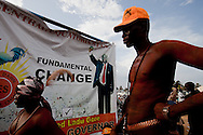 A rally for independent canidate Alfred Ladu Gore for Governor of Central Equatoria State on April 8, 2010. Indipendent canidates have faces a difficult time running against the main party SPLM, which is the political arm of the SPLA army.