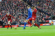 Jamie Vardy of Leicester City shoots and scores his teams 1st goal. Premier League match, Liverpool v Leicester City at the Anfield stadium in Liverpool, Merseyside on Saturday 30th December 2017.<br /> pic by Chris Stading, Andrew Orchard sports photography.