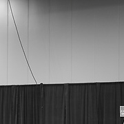 """Charlotte, NC - October, 14 2016:  A person holds up a sign that says """"Make America Great Again"""" inside the Charlotte Convention Center before an appearence by Republican Presidential nominee Donald J. Trump. CREDIT: LOGAN R CYRUS"""