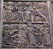 Cast of Three reliefs depicting the Carchemish royal family Neo-Hittite, about 800 BC Yariri, the regent, is shown holding the young King Kamani by the arm. Young princes play with knuckle-bones and tops, and one is learning to walk. The queen or nurse-maid carries a baby. The inscription describes Yariri's
