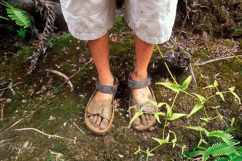 Child's muddy sandals after hiking the Pihea Trail, Kokee State Park, Kauai, Hawaii USA