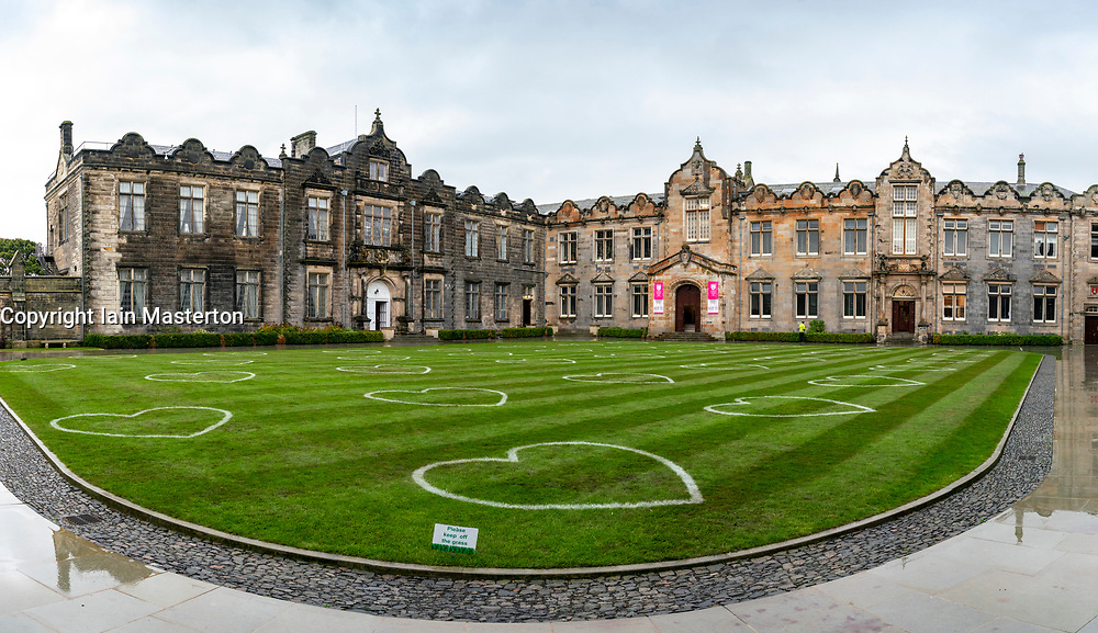 St Andrews, Scotland, UK. 30 September, 2020. Students in halls of residence at St Andrews University have been told that they can leave for home without financial penalty. The Scottish Government controversially told students in Scotland  to self-isolate in their rooms following localised outbreaks of Covid-19 amongst students.. Pictured; The lawn inside St Salvator's Quad has been marked out to ensure 2m social distancing . Iain Masterton/Alamy Live News