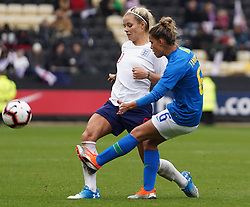 October 6, 2018 - Nottingham, England, United Kingdom - Nottingham England - October 06:.L-R Rachel Daly of England and Tamires of Brazil.during International Friendly between England Women and Brazil Women at Meadow Lane stadium , Notts County FC, Nottingham, England on 06 Oct 2018. (Credit Image: © Action Foto Sport/NurPhoto/ZUMA Press)