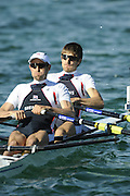 Munich, GERMANY, GBR LM2X , Bow, Zac PURCHASE and Mark HUNTER, during the FISA World Cup at the Munich Olympic Rowing Course, Thur's.  08.05.2008  [Mandatory Credit Peter Spurrier/ Intersport Images] Rowing Course, Olympic Regatta Rowing Course, Munich, GERMANY