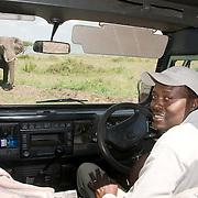 Andrew waits for an elephant to cross the road. Masai Mara Game Reserve, Kenya