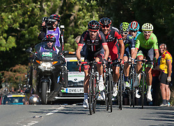 © Licensed to London News Pictures. 08/09/2016. Selsley, Gloucestershire, UK. The Tour of Britain cycle race. Picture of the leading group in the King of the Mountain section up to Selsley Common. Photo credit : Simon Chapman/LNP