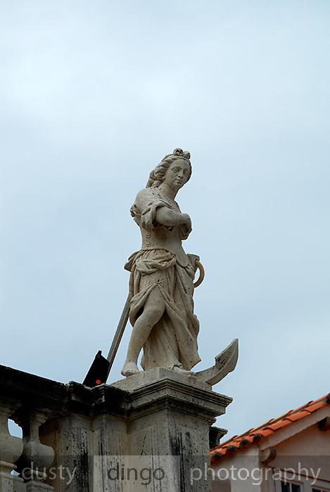Statue representing Hope, atop the church of Saint Blaise (Sveti Vlaho), Dubrovnik old town, Croatia
