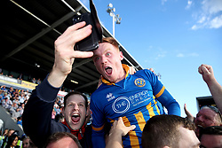 Shrewsbury Town's Jon Nolan celebrates at end of the Sky Bet League One play-off second leg match at Montgomery Waters Meadow, Shrewsbury.