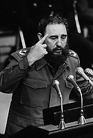 17 Apr 1981, Havana, Cuba --- Fidel Castro delivers a speech on the 20th anniversary of the Bay of Pigs Invasion. --- Image by © Owen Franken/