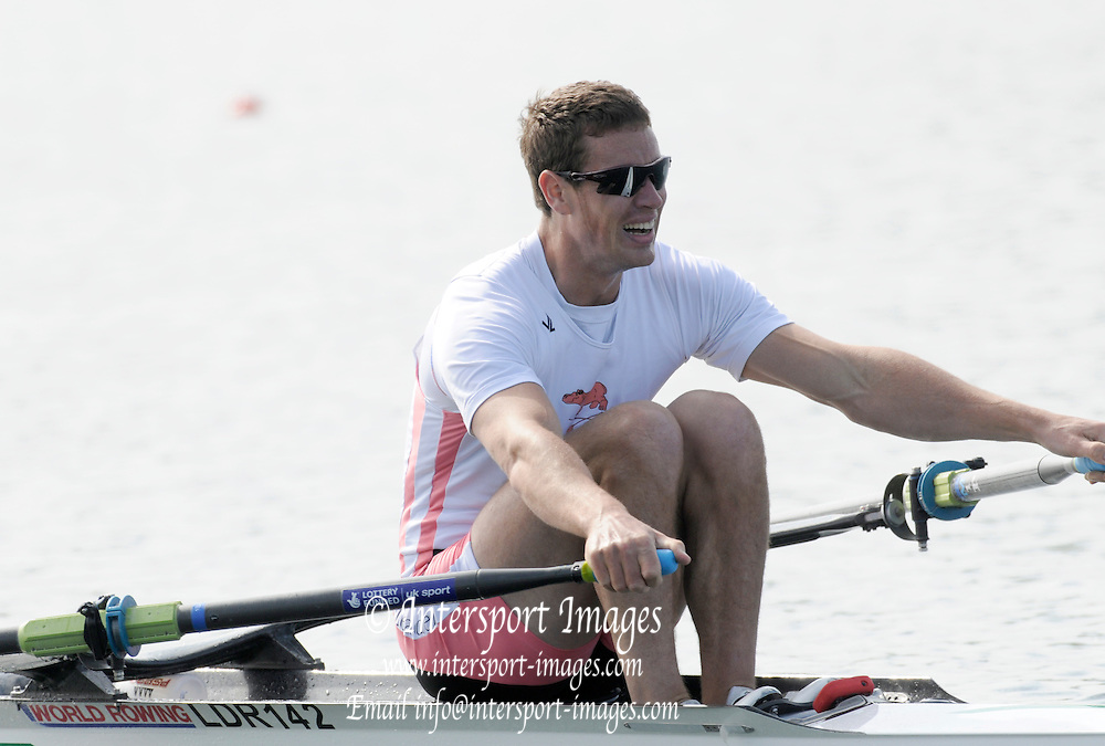 Eton, United Kingdom.  Rick EGINGTON, competing in the men's Single Scull  Sat. time trial.  2011 GBRowing Trials, Dorney Lake. Saturday  16/04/2011  [Mandatory Credit; Peter Spurrier/Intersport-images] Venue For 2012 Olympic Regatta and Flat Water Canoe events.
