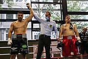 BOXEN: Hamburg Giants Professional Boxing, Hamburg. 01.08.2020<br /> Albon Pervizaj - Erik Wenzek<br /> © Torsten Helmke