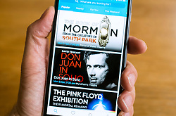 Ticketmaster online ticket selling website on smart phone screen.