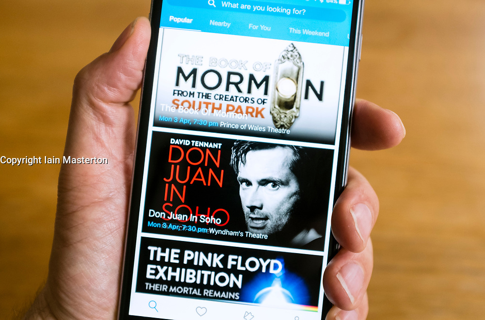 Ticketmaster online ticket selling website on smart phone screen.
