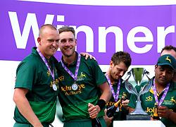 Stuart Broad and Luke Fletcher of Nottinghamshire celebrate winning the Royal London One-Day cup - Mandatory by-line: Robbie Stephenson/JMP - 01/07/2017 - CRICKET - Lord's Cricket Ground - London, United Kingdom - Nottinghamshire v Surrey - Royal London One-Day Cup Final 2017