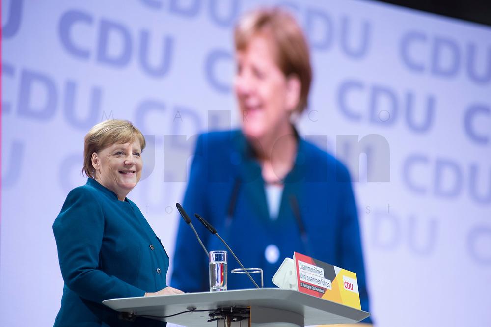 07 DEC 2018, HAMBURG/GERMANY:<br /> Angela Merkel, CDU, Bundeskanzlerin, haelt Ihre letzte Rede als Parteivorsitzende, CDU Bundesparteitag, Messe Hamburg<br /> IMAGE: 20181207-01-013<br /> KEYWORDS: party congress, speech