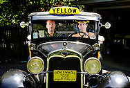 Gary Klecka and Paul Klecka in their Model A that was made into a cab for the Untouchables and left that way for Road to Peredition, and also because it was apparently more fun.  Riverside, IL..