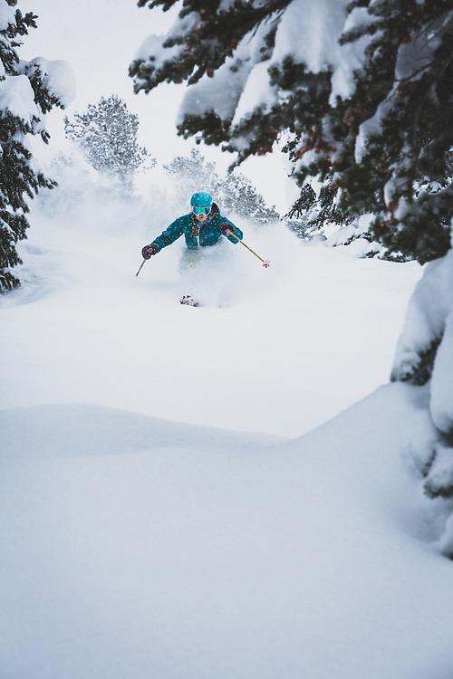 The Wasatch gets slammed. Mali Noyes storm skiing, Alta Ski Area, Utah.