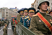Moscow, Russia, 09/05/2005..Russia celebrates the 60th anniversary of the end Second World War, generally referred to in Russia as the Great Patriotic War, with a military parade through central Moscow and Red Square. Many soldiers were dressed in wartime uniform and carried Soviet-era banners, and veterans rode through the square on wartime trucks.